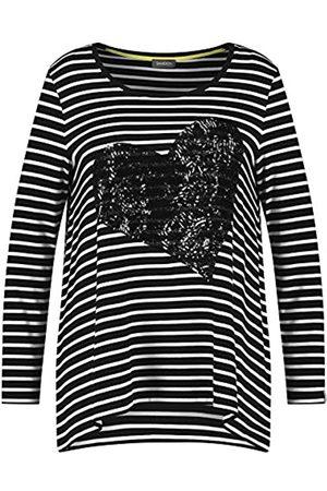 Samoon Damen Ringel-Shirt mit Pailletten-Herz A-Linie, ausgestellt