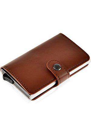 Home-X HOME-X Veganes Leder RFID-blockierendes sicheres Aluminium 1 Metallkompart, Unisex Geldbörse für Bargeld, Kreditkarten, Debitkarten (10,2 cm L x 6,3 cm B x 1