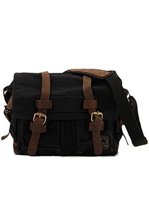 Sechunk Herren Laptop- & Aktentaschen - Canvas Leather Messenger Bag Shoulder Cross Body Men Military Travel Laptop Camera Purse small-13''