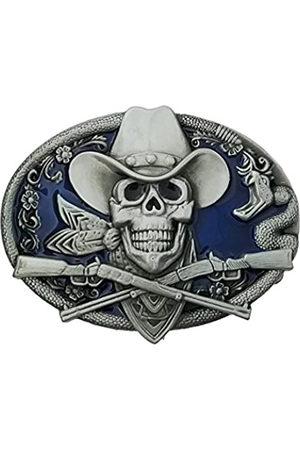 QUKE QUKE Gürtelschnalle Western Cowboy Totenkopf mit Gewehren Waffen