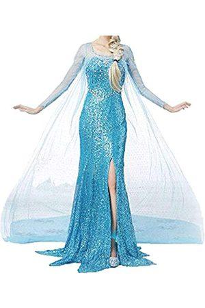 ALINGNA Damen Halloween Cosplay Frozen ELSA Prinzessin Kostüm Mädchen Fancy Dress Up - - Medium
