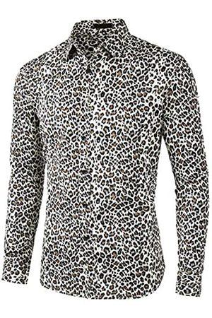 Lars Amadeus Herren Langarm Button Leopard Muster Hemd L