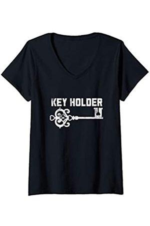 """BDSM Submissive Shirts Damen """"Key Holder"""" Femdom Chastity BDSM Hotwife Cuckold Fetish T-Shirt mit V-Ausschnitt"""