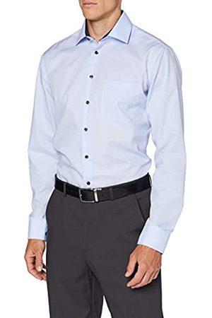 Seidensticker Herren Regular Langarm Uni Kontrastknopf Klassisches Hemd