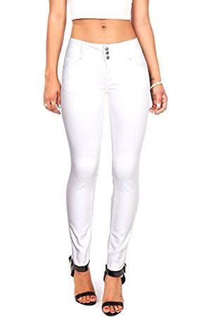 Wax Wax Damen Juniors Body schmeichelnde Mid Rise Skinny Jeans - Wei� - 39