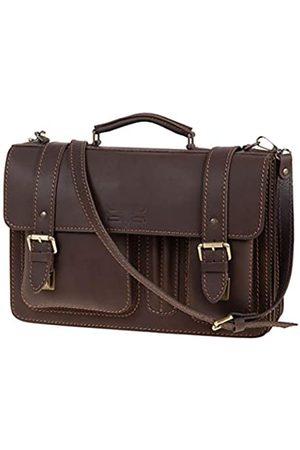 Mika MIKA 28056322 - Aktentasche Steward aus Echt Leder/Sattelleder, Schultertasche mit 3 Hauptfächer und 2 Fronttaschen, Umhängetasche für Damen und Herren, Tasche in