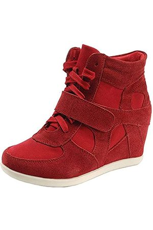 Generic Damen-Sneakers, formell, Keilabsatz, versteckte Ferse, Klettverschluss, Wildleder, modische Sneakers