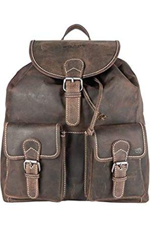 ARRIGO BELLO Lederrucksack Dunkelbraun Groß Vintage Büffelleder Rucksack Schulrucksack Reiserucksack Damen Herren Studenten 37x39x12 cm (b x h x t) Backpack
