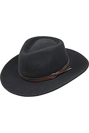 Borges & Scott Borges & Scott Hardy - Leichter Fedora Hut mit breiter Krempe und Lederband - 100% Wollfilz - Für die Reise knautschbar - Wasserabweisend - 58cm