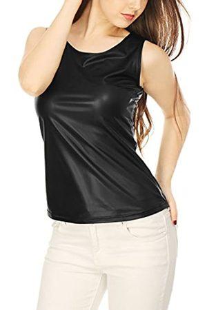 Allegra K Damen Shirts - Damen Ärmellos U Neck Metallic Tank Top M