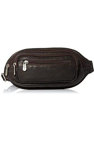 Piel Piel Leder Multi-Zip Oval Taille Tasche (braun) - 3086-CHC