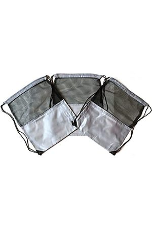 TheAwristocrat 3 Stück Nylon Kordelzug Rucksäcke Sackpack Tote Cinch Gym Bag – verschiedene Farben (Grau) - TA-DSB