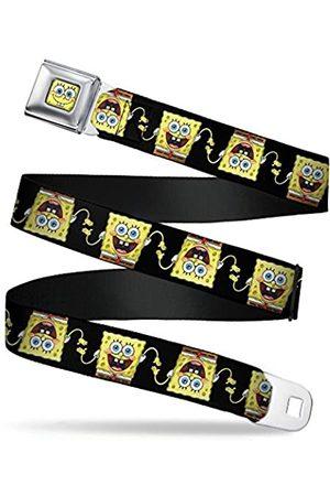 Nickelodeon Unisex-Erwachsene Face Close-UP Seatbelt Belt-Sponge Bob 3-D Pose Flip Black X-Large Webbing Gürtel