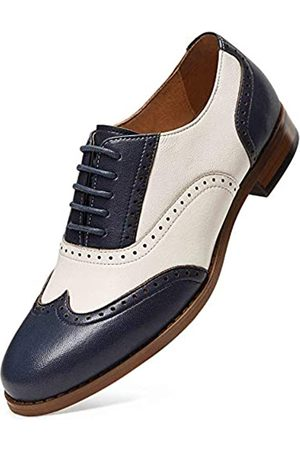 ALIPASINM Alipasinm Damen Oxfords Lace Up Wingtip Brogue Flats Sattelkleid formelle Hochzeit Büro Schuhe für Mädchen Damen, (blau / weiß)