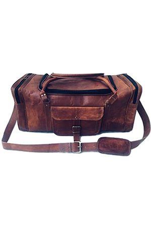vintage crafts Reisetasche aus Leder, Vintage, 61 cm, rund, mit Reißverschluss, Reisetasche, Reisetasche, Reisetasche
