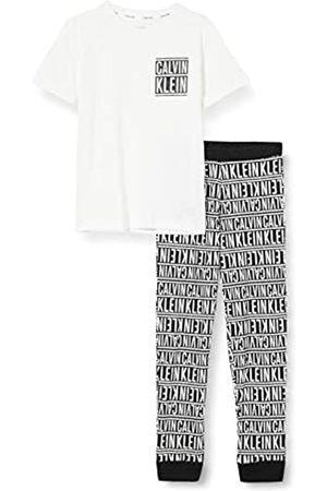 Calvin Klein Calvin Klein Jungen Knit PJ Set (SS+Cuffed Pant) Pyjamaset, Pvhwhitew/Logostripeblackaop