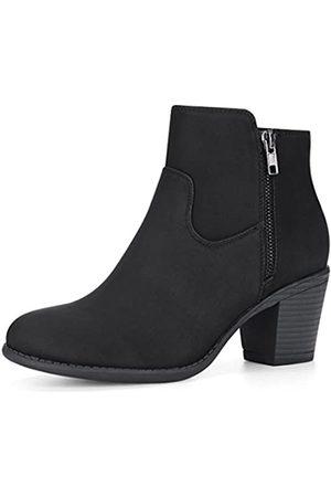 Allegra K Damen Runde Zehe Reißverschluss Westernabsatz Ankle Boots Stiefel 40