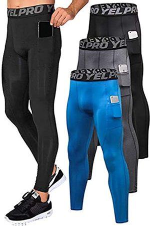 Yuerlian Herren Kompressionshose Workout Leggings Training Running Tights Athletic Base Layer Cool Dry Pants mit Tasche, Herren, Taschen- + + .