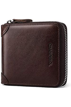 MANBANG Herren Geldbörse aus Leder, extrem einfach, doppelt gefaltet, RFID, sicher, ultradünn, großes Fassungsvermögen