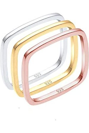 Elli Elli Ring Tri-Color Statement Vierecks-Ringset 925er