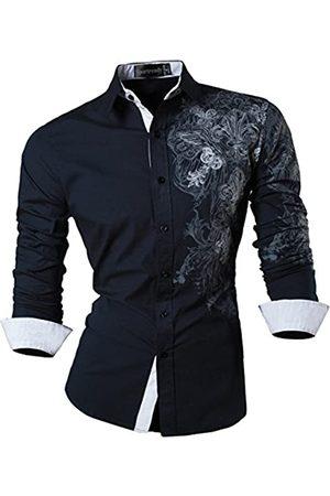 Sportrendy Herren Freizeit Hemden Slim Button Down Long Sleeves Dress Shirts Tops JZS048 Navy L