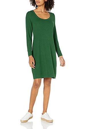 Daily Ritual Damen Freizeitkleider - Rayon Spandex Fine Rib Long-Sleeve Scoop Neck Dress Kleid