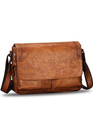 IVTG Echtleder-Messenger-Tasche für Herren, Vintage-Stil, handgefertigt, Umhängetasche, Laptop-Tasche