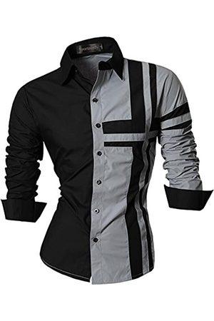 Sportrendy Herren Freizeit Hemden Slim Button Down Long Sleeves Dress Shirts Tops JZS051 Gray S