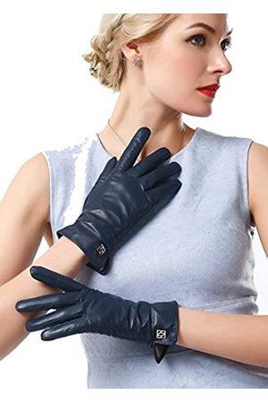NappaNovum NappaNovum Damen Italienische Lederhandschuhe Lammfell Winter Komfort Handschuhe (Touchscreen oder ohne Touchscreen) - Blau - Large