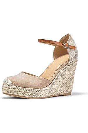 FISACE Damen Sommer Espadrille Absatz Plateau Keilsandalen Knöchelschnalle Riemen Geschlossene Zehen Schuhe …