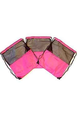 TheAwristocrat 3 Stück Nylon Kordelzug Rucksäcke Sackpack Tote Cinch Gym Bag – verschiedene Farben (Pink) - TA-DSB