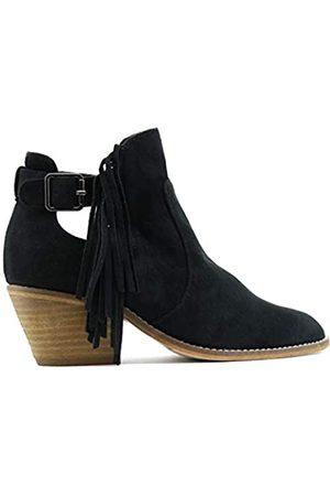 Beast Fashion Sunny Slip On Side Cut Out Western Bootie, (Fransen )