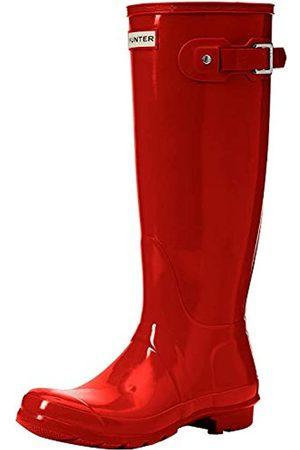 Hunter Original Gloss, Damen Kniehohe Stiefel mit dünnem Futter, (Military Red)