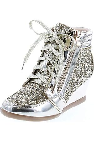 Forever Link Damen Fashion Glitter High Top Lace Up Wedge Sneaker Schuhe