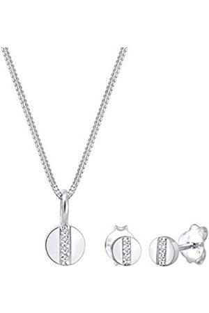 Elli Elli PREMIUM Schmuckset Kreis Geo Form Diamant (0.05 ct.) 925 Figa