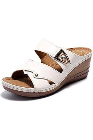 ALEXIS Damen-Sandalen mit offenem Zehenbereich, Kreuzgurt, Schlupfkeil, Weiá