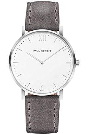 Paul Hewitt PAUL HEWITT Armbanduhr Edelstahl Sailor Line White Sand (Damen und Herren) - Uhr mit Lederarmband (Grau), Armbanduhr in Silber