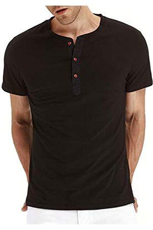 PEGENO PEGENO Herren Mode Casual Front Knopfleiste Kurz/Langarm Henley T-Shirts Baumwolle Shirts - Grau - X-Groß