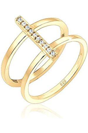 Elli Elli Ring Damen Doppelring Geo mit Swarovski® Kristalle in 925 Sterling Silber