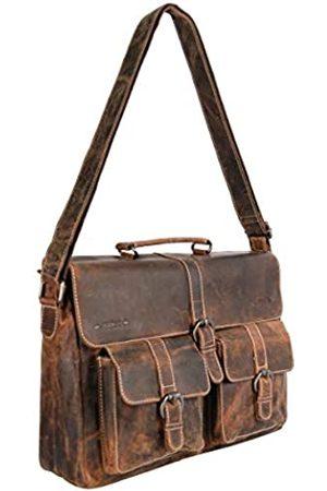 ARRIGO BELLO Leder-Kuriertasche Hellbraun für Herren und Damen - Lederlaptoptasche 15.6 Zoll • Business • Schultertasche • Aktentasche • Schultasche • Büffelleder - 39 x 9.5 x 24 cm
