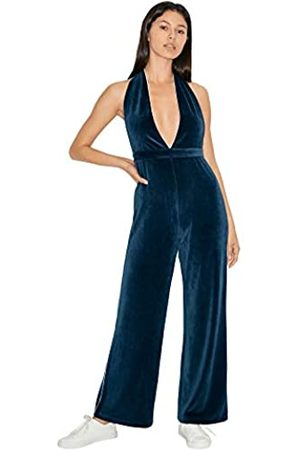 American Apparel Damen Stretch Velour Sleeveless Deep V Jumpsuit, Marineblau/