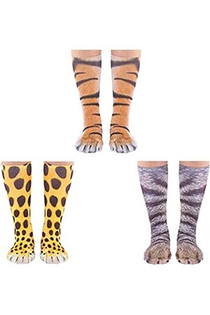 Cosweet Herren Socken & Strümpfe - 3 Paar Tierpfoten-Socken mit 3D-Druck, lustige Tierfüße, Tiger, Katze, Leopard, Pfotensocken für Männer, Frauen