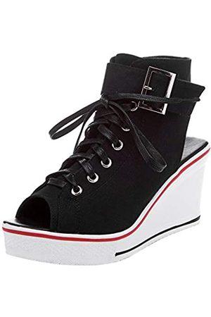 OCHENTA Damen Peep-Toe Canvas Keilabsatz Mode Sneaker, (#4 )