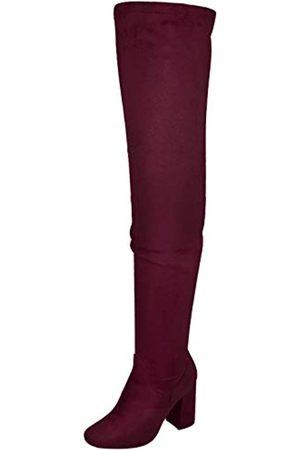Nature Breeze Elantra 01 Damen Stiefel aus Wildleder, mit hohem Absatz, Rot (burgunderfarben)