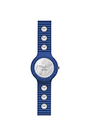 Hip Armbanduhr HIP HOP Frau Pearls quadrante Weiss e uhrarmband in silikon, Glam blau