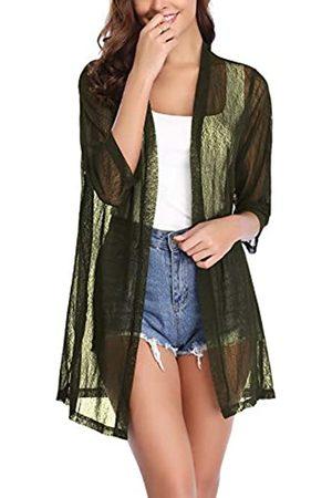 iClosam IClosam Damen Casual 3/4 Ärmel Sheer Open Front Cardigan Sweater Kimono - Gr�n - XX-Large