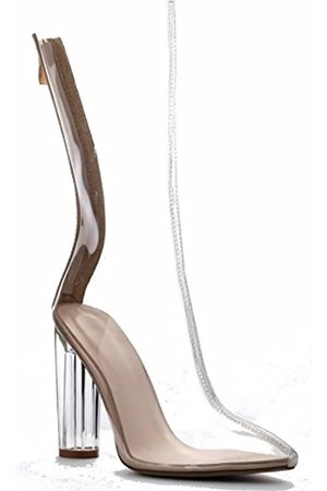 Cape Robbin Ella-1 Damen Durchsichtige Perspex Kleid Stiefel, (nude)