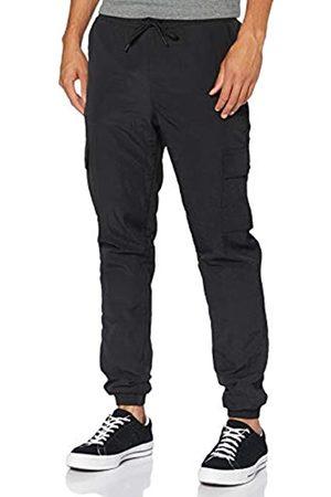 Urban classics Herren Cargohosen - Herren Cargo Nylon Track Pants Freizeithose, Black