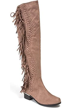 Lady Couture Mircosuede Fransen Damen knielang Stiefel Fransen, (taupe)