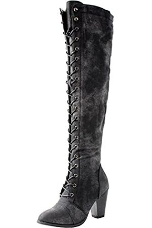 FOREVER Forever Women's Chunky Heel Lace up Over-The-Knee High Riding Boots